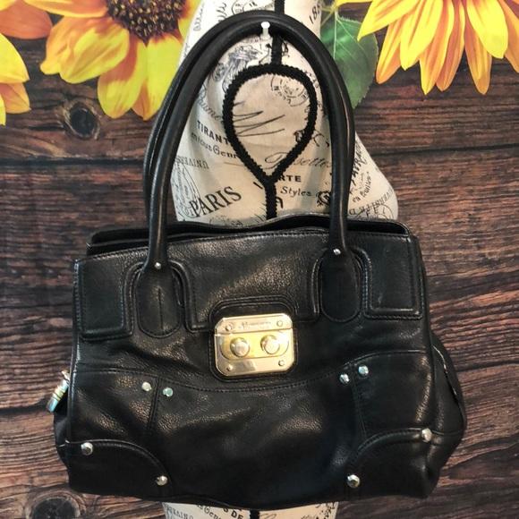 B. Makowsky Bag Satchel Leather Black